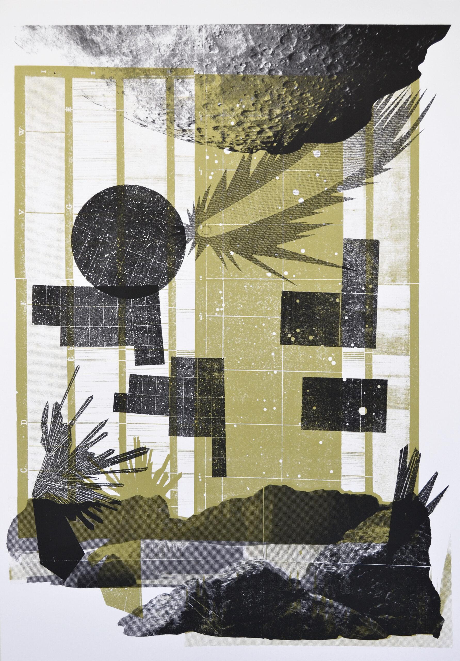 Surviving the long dark night of new moons #2Silkscreen on paper_100x70cm - Amélie Bouvier)