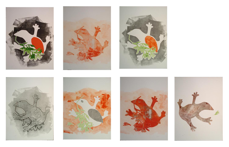 The Dove that looks like a Frog- Mono Prints 2012 - Samah Hijawi)